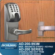 Schlage AD-200-993M - Standalone Exit Trim - Exit Mortise Lock - Magnetic Stripe (Insert) + Keypad