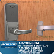 Schlage AD-200-993M - Standalone Exit Trim - Exit Mortise Lock - Multi-Technology   Proximity and Smart Card