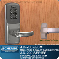 Schlage AD-200-993M - Standalone Exit Trim - Exit Mortise Lock - Multi-Technology + Keypad | Proximity and Smart Card
