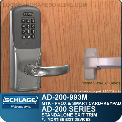 Schlage AD-200-993M - Standalone Exit Trim - Exit Mortise Lock - Multi-Technology + Keypad   Proximity and Smart Card