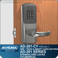 Schlage AD-201-CY - Standalone Cylindrical Locks - FMK (FIPS 201-1 Multi-Technology + Keypad | Proximity and Smart Card)