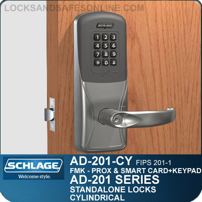 Schlage AD-201-CY - Standalone Cylindrical Locks - FMK (FIPS 201-1 Multi-Technology + Keypad   Proximity and Smart Card)
