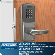 Schlage AD-201-MS - Standalone Mortise Locks - FMK (FIPS 201-1 Multi-Technology + Keypad | Proximity and Smart Card)
