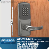 Schlage AD-201-MD - Standalone Mortise Deadbolt Locks - FMK (FIPS 201-1 Multi-Technology + Keypad | Proximity and Smart Card)