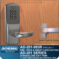 Schlage AD-201-993R - Standalone Exit Trim - Exit Rim/Concealed Vertical Rod/Concealed Vertical Cable - FMK (FIPS 201-1 Multi-Technology + Keypad | Proximity and Smart Card)
