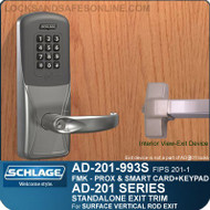 Schlage AD-201-993S - Standalone Exit Trim - Exit Surface Vertical Rod - FMK (FIPS 201-1 Multi-Technology + Keypad | Proximity and Smart Card)