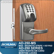 Schlage AD-250-MS - User Rights on Card - Mortise Locks with Magnetic Stripe (Insert) + Keypad