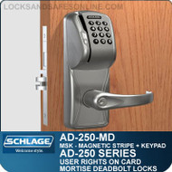 Schlage AD-250-MD - User Rights on Card - Mortise Deadbolt Locks with Magnetic Stripe (Swipe) + Keypad