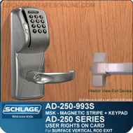 Schlage AD-250-993S - User Rights on Card - Exit Trim with Magnetic Stripe (Swipe) + Keypad - Exit Surface Vertical Rod