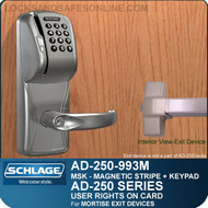 Schlage AD-250-993M - User Rights on Card - Exit Trim with Magnetic Stripe (Swipe) + Keypad - Exit Mortise Lock