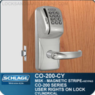 Standalone Electronic Magnetic Stripe Swipe Locks with Keypad | Schlage CO-200-Cylindrical