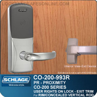 Exit Trim with Proximity Reader | Schlage CO-200-993R - Exit Rim/Concealed Vertical Rod/Concealed Vertical Cable | User Rights on Lock