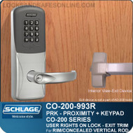 Exit Trim with Proximity and Keypad Reader | Schlage CO-200-993R - Exit Rim/Concealed Vertical Rod/Concealed Vertical Cable | User Rights on Lock