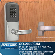 Exit Trim with Proximity and Keypad Reader | Schlage CO-200-993M - Exit Mortise Lock | User Rights on Lock