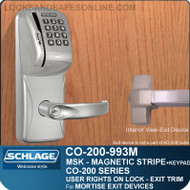 Schlage CO-200-993M -  Exit Mortise Lock   Exit Trim with Magnetic Stripe Swipe and Keypad Reader   User Rights on Lock