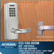Electronic Exit Trim with Keypad Reader | Schlage CO-100-993M - Exit Mortise Lock | User Rights on Lock