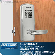 Electronic Cylindrical Lock with Keypad Reader | Schlage CO-100-CY | Manually Programmable