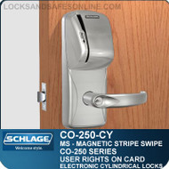 Cylindrical Magnetic Stripe Swipe Locks | Schlage CO-250-CY | User Rights on Card