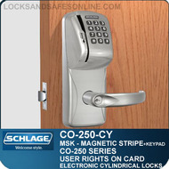 Cylindrical Magnetic Stripe Swipe & Keypad Locks | Schlage CO-250-CY | User Rights on Card