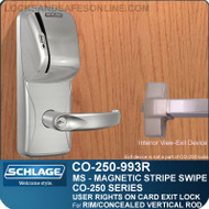 Exit Trim with Magnetic Stripe Swipe Locks | Schlage CO-250-993R - Exit Rim/Concealed Vertical Rod/Concealed Vertical Cable | User Rights on Card