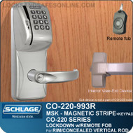 Exit Trim with Magnetic Stripe Swipe & Keypad Locks | Schlage CO-220-993R-MSK - Exit Rim/Concealed Vertical Rod/Concealed Vertical Cable | Classroom Lockdown Solution
