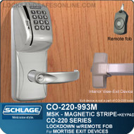 Exit Trim with Magnetic Stripe Swipe & Keypad Reader | Schlage CO-220-993M-MSK - Exit Mortise Lock | Classroom Lockdown Solution