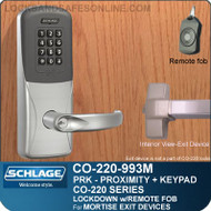 Exit Trim with Proximity & Keypad Reader | Schlage CO-220-993M-PRK - Exit Mortise Lock | Classroom Lockdown Solution