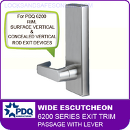 PDQ 6200 Wide Escutcheon Trim -  Passage with Lever - For Rim, Surface Vertical and Concealed Vertical Rod Exit Devices