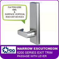 PDQ 6200 Narrow Escutcheon Trim - Passage with Lever - For Rim and Surface Vertical Rod Exit Devices