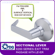 PDQ 6200 Sectional Trim - Passage with Lever - For Rim and Surface Vertical Rod Exit Devices