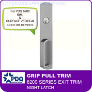 Grip Pull Trim - Night Latch | PDQ 6200 Series - For Use With Rim & Surface Vertical Rod Exit Devices