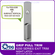 PDQ 6200 Grip Pull Trim  Night Latch w/ Exit Device Cylinder Dogging