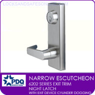 PDQ 6202 Escutcheon Trim | Night Latch with Exit Device Cylinder Dogging