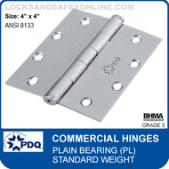 "PDQ Commercial Hinges | Plain Bearing (4""x4"")"