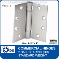 "PDQ Commercial Hinges | A5112 - 2 Ball Bearing (4-1/2""x4"")"