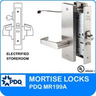 Grade 1 Electrified Storeroom Mortise Locks | PDQ MR199A | F Series Escutcheon Trim