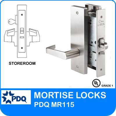 Grade 1 Single Cylinder Store Room Mortise Locks | PDQ MR115 | F Series Escutcheon Trim