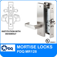 Institution with Deadbolt Mortise Locks Grade 1 Double Cylinder | PDQ MR128 | F Series Escutcheon Trim