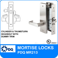 Grade 1 Single Cylinder and Thumbturn Deadbolt with Dummy Trim Mortise Locks | PDQ MR213 | F Series Escutcheon Trim