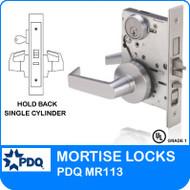 Hold Back Mortise Lockset Grade 1 Single Cylinder | PDQ MR113 | J Series Sectional Trim