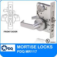 Grade 1 Single Cylinder Front Door Mortise Lockset | PDQ MR117 | J Series Sectional Trim