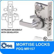 Grade 1 Double Cylinder Intruder Deadbolt with Mortise Deadlatch Lockset   PDQ MR157   J Series Sectional Trim