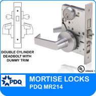 Grade 1 Double Cylinder Deadbolt with Dummy Trim Mortise Locks | PDQ MR214 | J Series Sectional Trim