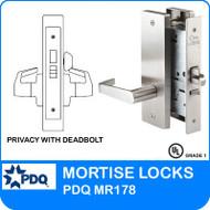 Grade 1 Privacy with Deadbolt Mortise Locks | PDQ MR178 | J Escutcheon Trim
