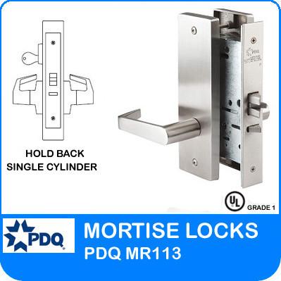 Grade 1 Hold Back Single Cylinder Locks Mortise | PDQ MR113 | J Wide Escutcheon Trim