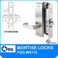 Storeroom Locks Mortise Grade 1 Single Cylinder  | PDQ MR115 | J Wide Escutcheon Trim