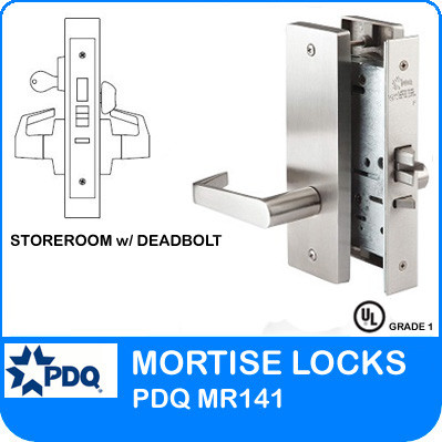 Storeroom with Deadbolt Locks Mortise Grade 1 Single Cylinder | PDQ MR141 | J Wide Escutcheon Trim