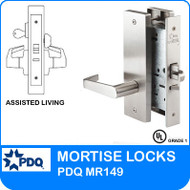 Assisted Living Locks Mortise Grade 1 Single Cylinder | PDQ MR149 | J Wide Escutcheon Trim