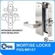 Intruder Deadbolt with Deadlatch Locks Mortise Grade 1 Double Cylinder | PDQ MR157 | J Wide Escutcheon Trim