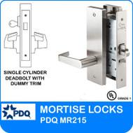 Grade 1 Single Cylinder Deadbolt with Dummy Trim Mortise Locks | PDQ MR215| J Wide Escutcheon Trim